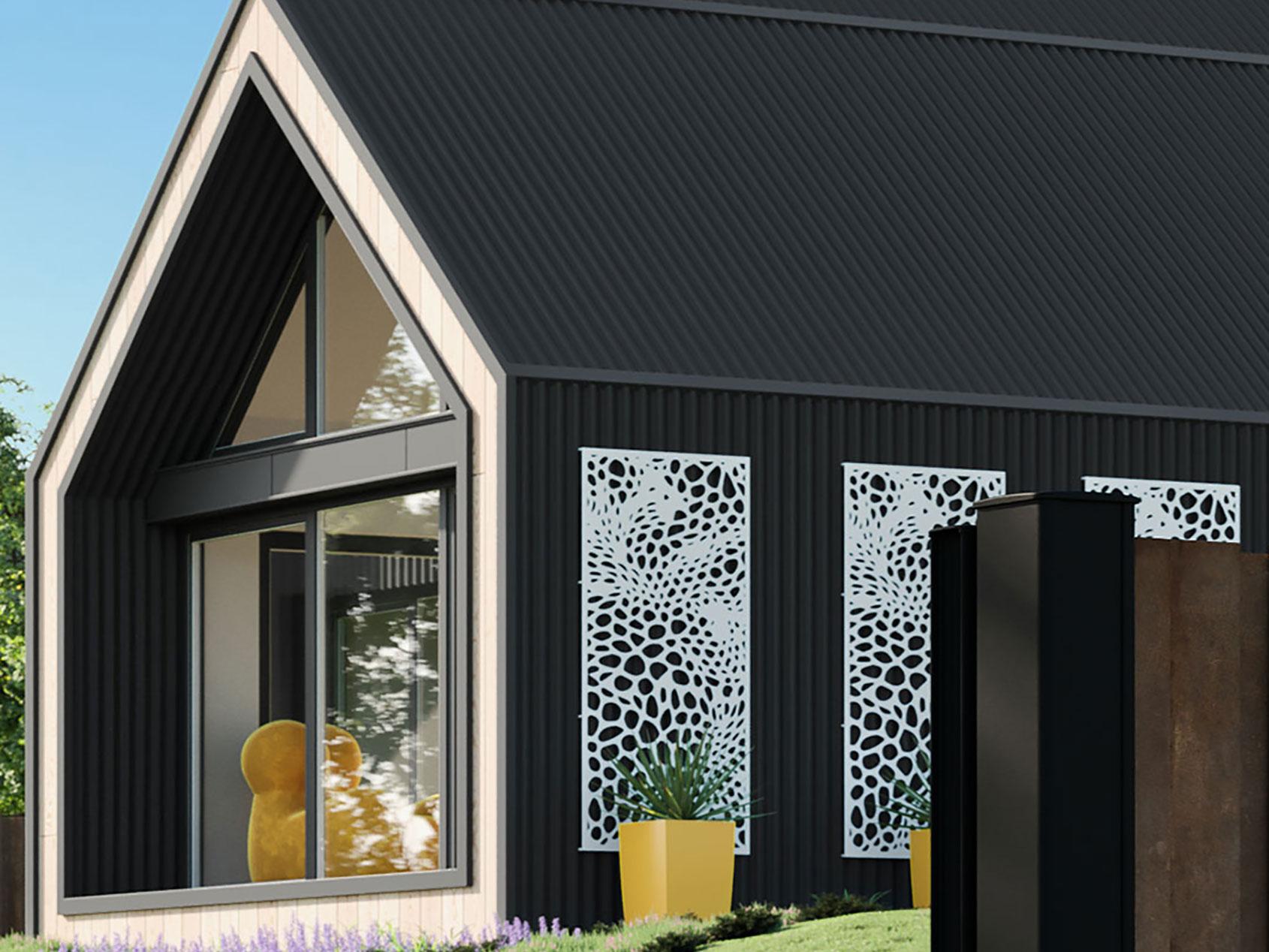 Habillage de façade en aluminium avec découpe laser kostum